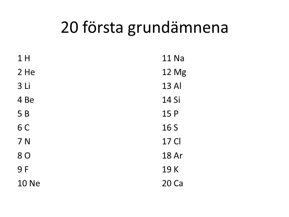 20 första grundämnena 1 H 11 Na 2 He 12 Mg 3 Li 13 Al 4 Be 14 Si 5 B 15 P 6 C 16 S 7 N 17 Cl 8 O 18 Ar 9 F 19 K 10 Ne 20 Ca