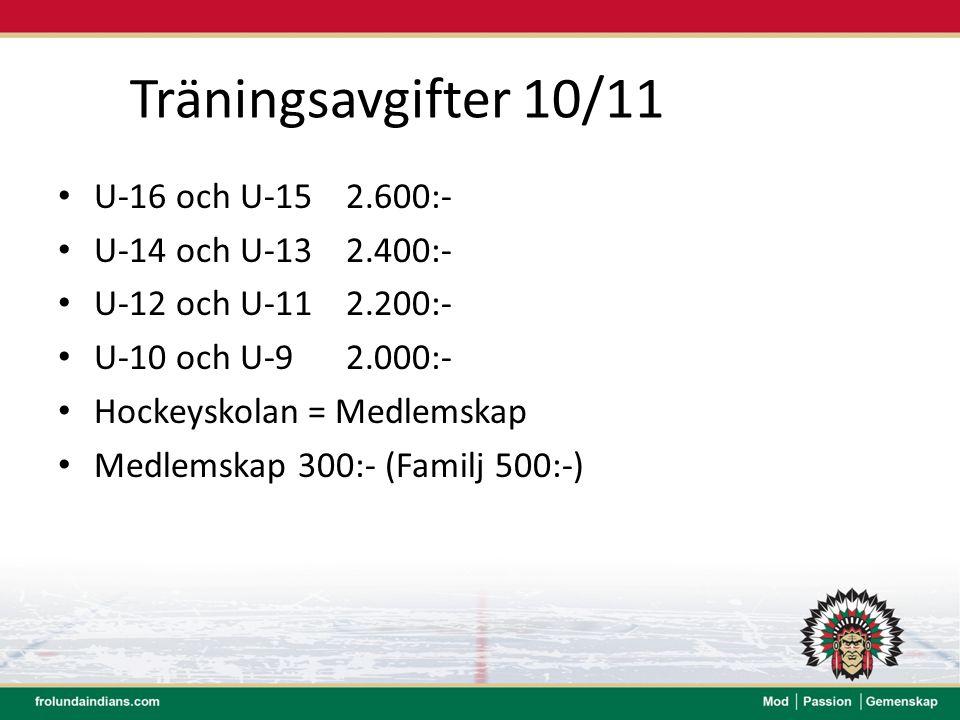 Träningsavgifter 10/11 U-16 och U-15 2.600:- U-14 och U-13 2.400:-