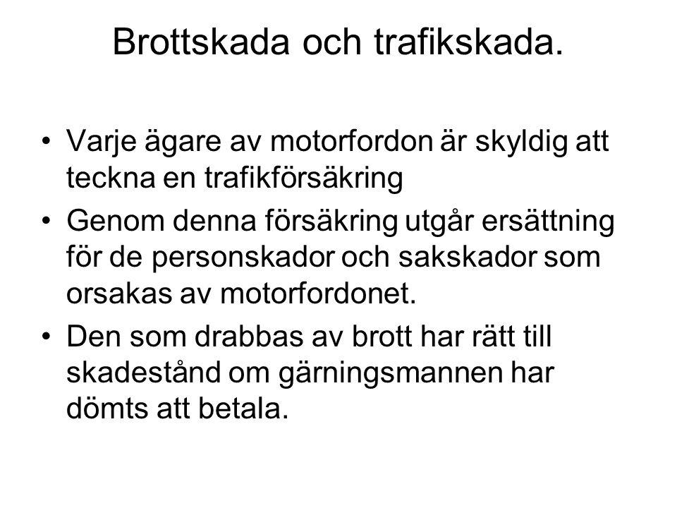 Brottskada och trafikskada.