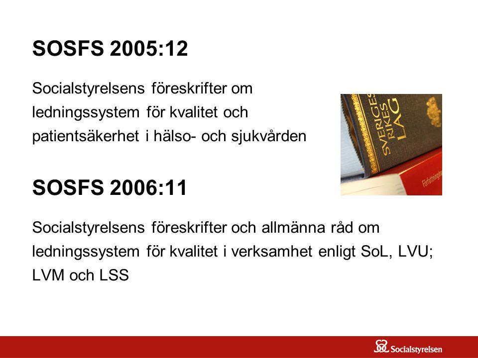 SOSFS 2005:12 Socialstyrelsens föreskrifter om ledningssystem för kvalitet och patientsäkerhet i hälso- och sjukvården SOSFS 2006:11 Socialstyrelsens föreskrifter och allmänna råd om ledningssystem för kvalitet i verksamhet enligt SoL, LVU; LVM och LSS