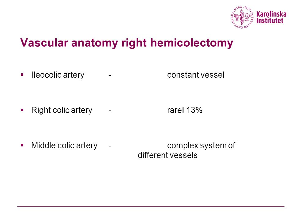 Vascular anatomy right hemicolectomy