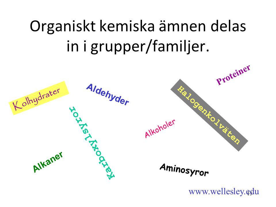 Organiskt kemiska ämnen delas in i grupper/familjer.