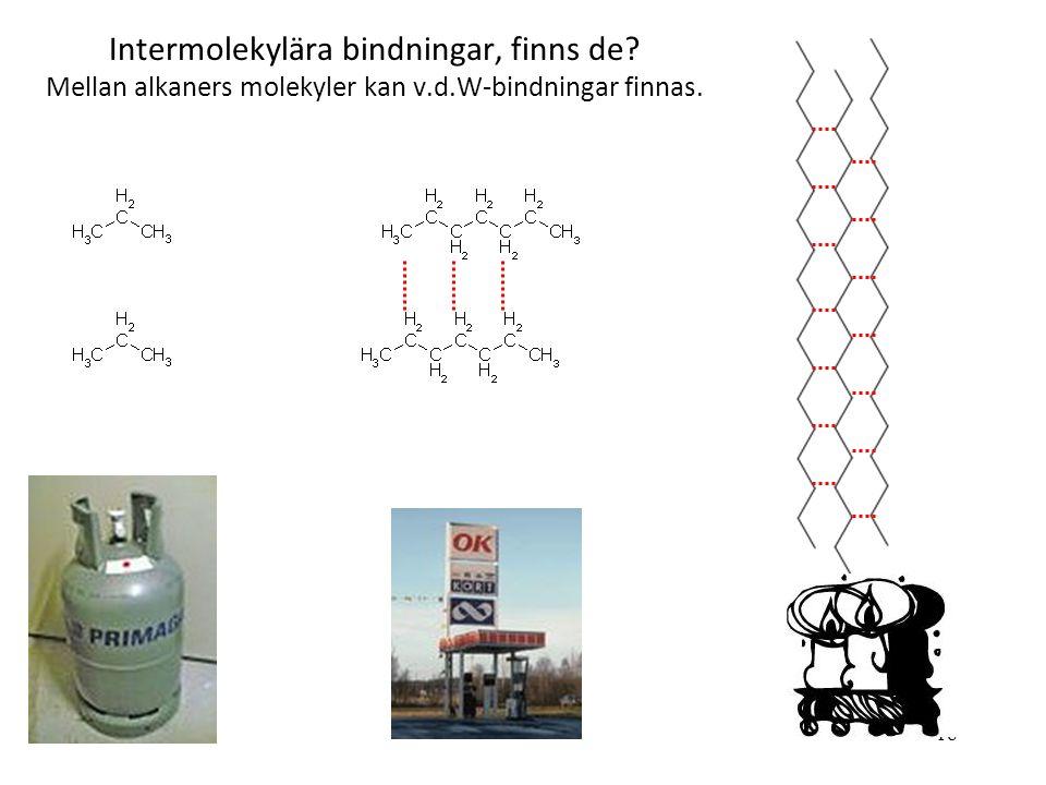 Intermolekylära bindningar, finns de. Mellan alkaners molekyler kan v