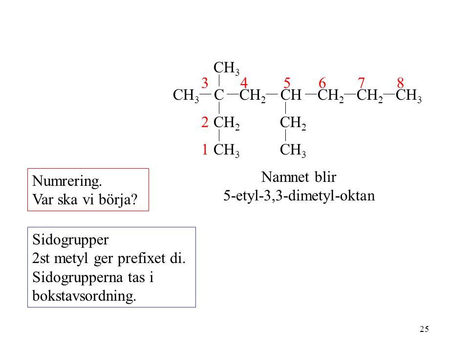 Namnet blir 5-etyl-3,3-dimetyl-oktan