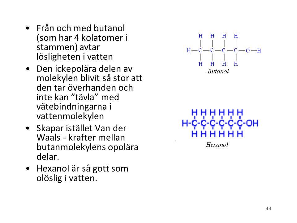 Från och med butanol (som har 4 kolatomer i stammen) avtar lösligheten i vatten