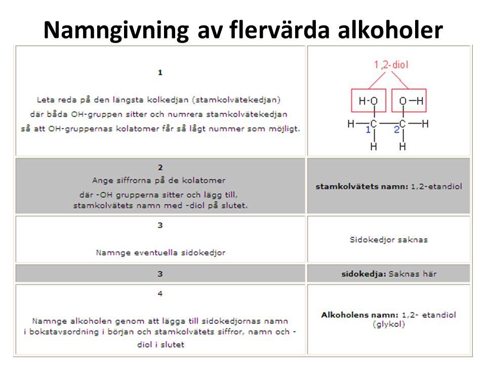 Namngivning av flervärda alkoholer