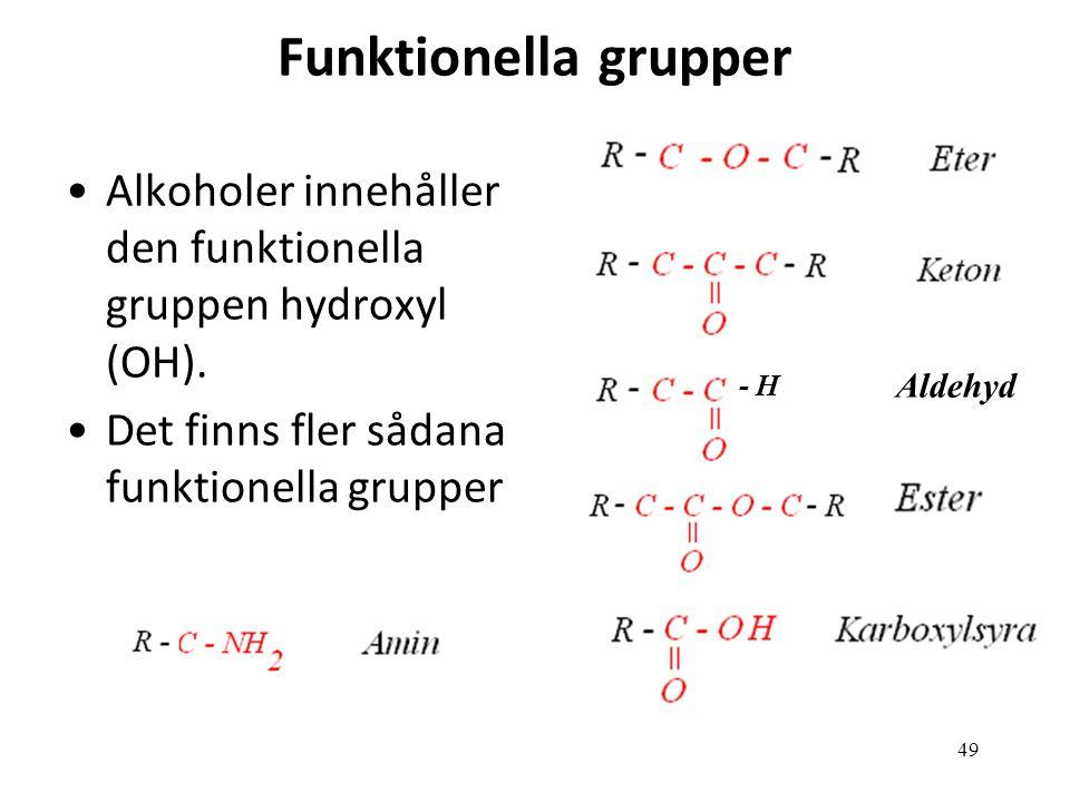 Funktionella grupper Alkoholer innehåller den funktionella gruppen hydroxyl (OH). Det finns fler sådana funktionella grupper.