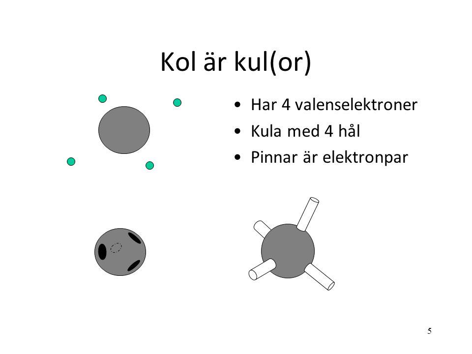 Kol är kul(or) Har 4 valenselektroner Kula med 4 hål