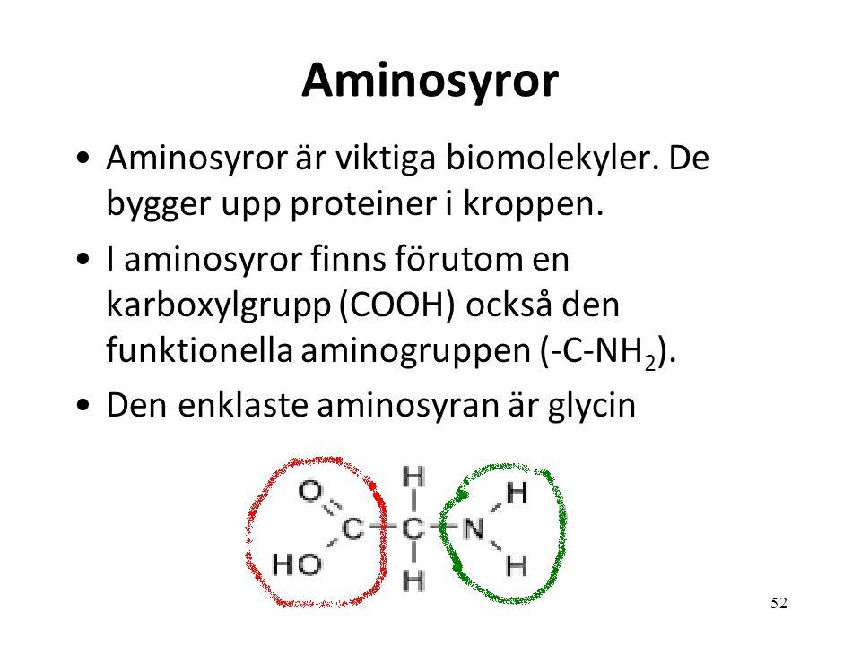 Aminosyror Aminosyror är viktiga biomolekyler. De bygger upp proteiner i kroppen.
