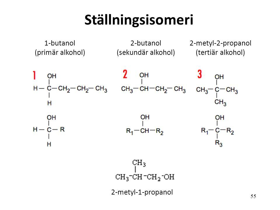 Ställningsisomeri 1-butanol (primär alkohol) 2-butanol