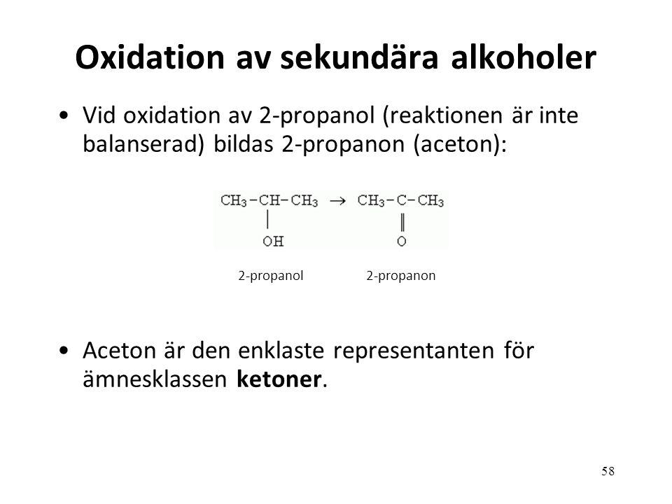 Oxidation av sekundära alkoholer