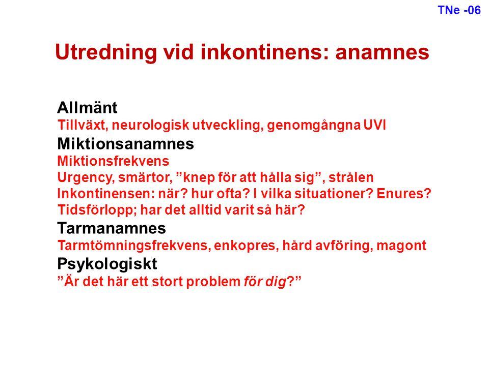 Utredning vid inkontinens: anamnes