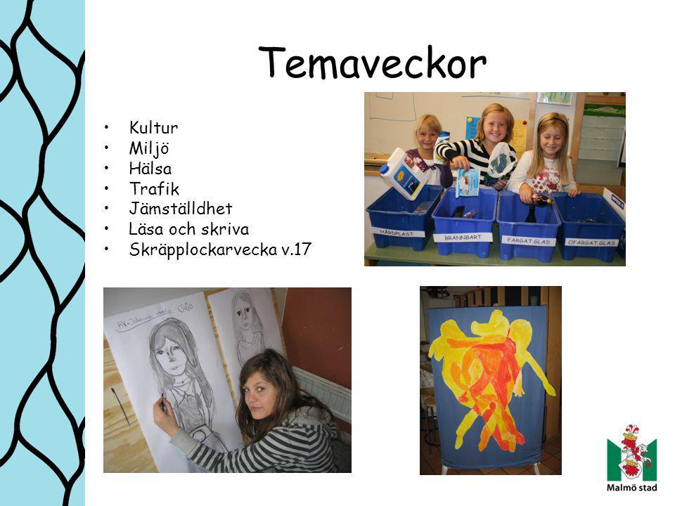 Temaveckor Kultur Miljö Hälsa Trafik Jämställdhet Läsa och skriva