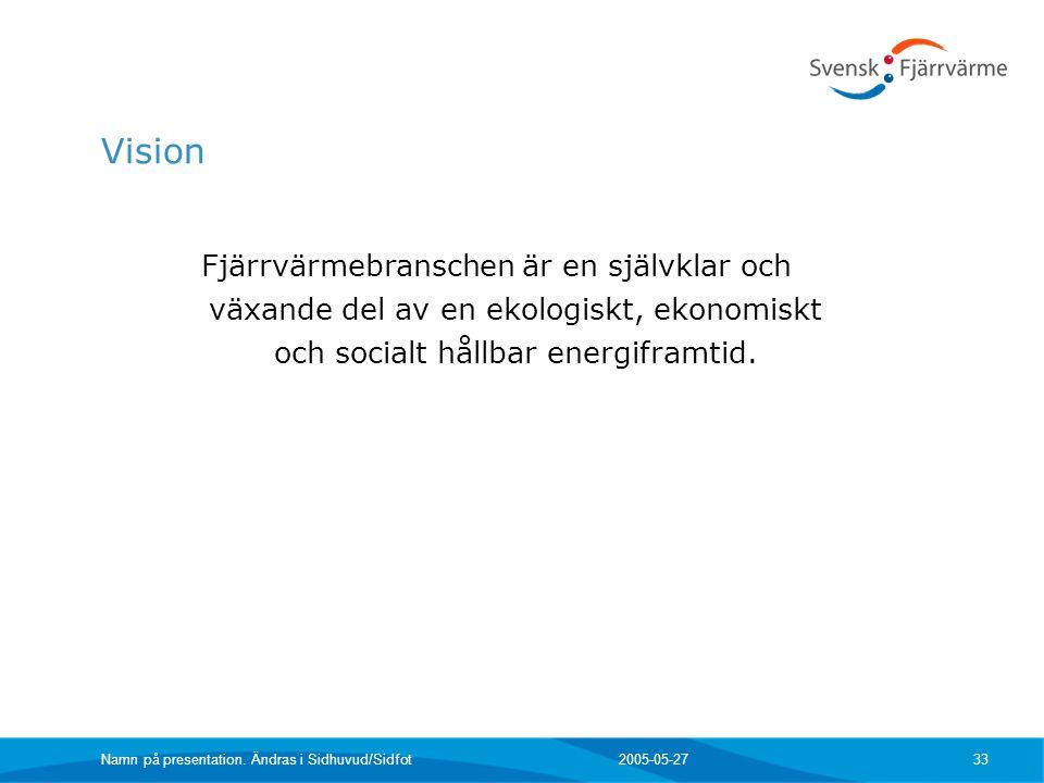 Vision Fjärrvärmebranschen är en självklar och växande del av en ekologiskt, ekonomiskt och socialt hållbar energiframtid.