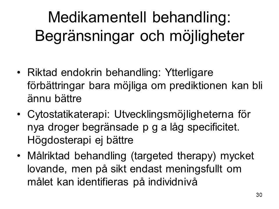 Medikamentell behandling: Begränsningar och möjligheter