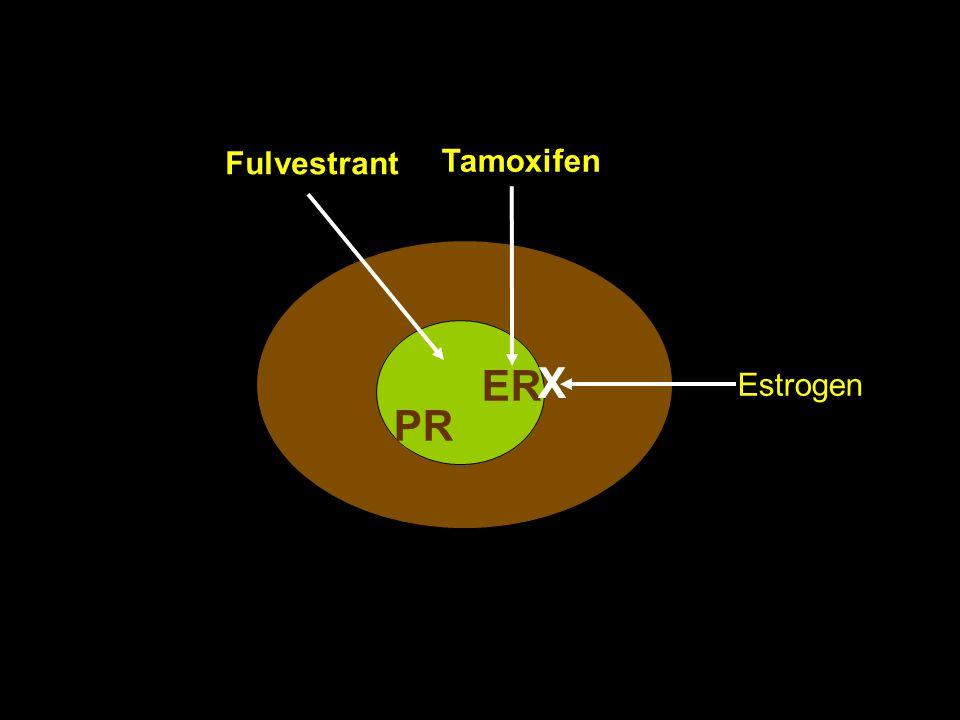 Fulvestrant Tamoxifen X ER Estrogen PR