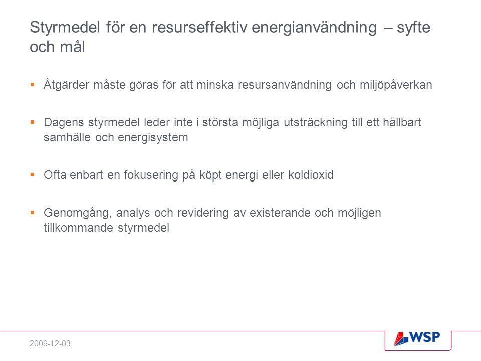 Styrmedel för en resurseffektiv energianvändning – syfte och mål