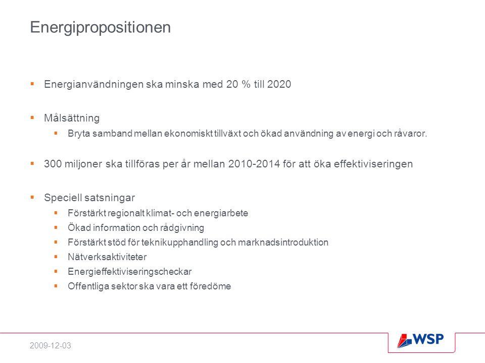 Energipropositionen Energianvändningen ska minska med 20 % till 2020