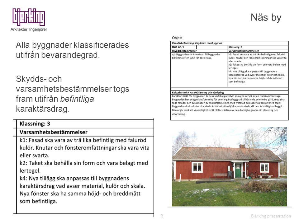 Näs by Alla byggnader klassificerades utifrån bevarandegrad. Skydds- och varsamhetsbestämmelser togs fram utifrån befintliga karaktärsdrag.