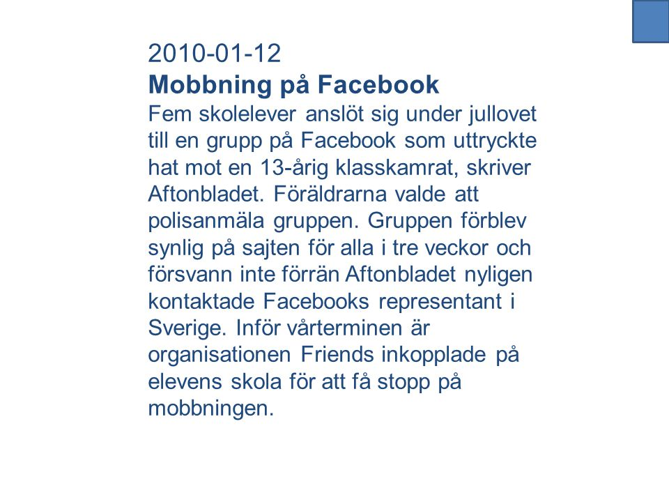 2010-01-12 Mobbning på Facebook