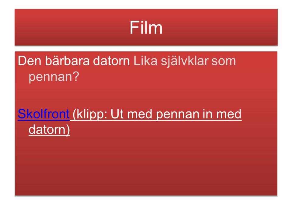 Film Den bärbara datorn Lika självklar som pennan Skolfront (klipp: Ut med pennan in med datorn)