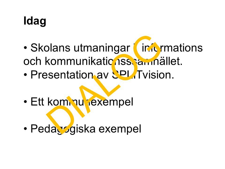 Idag Skolans utmaningar i informations och kommunikationsssamhället. Presentation av SPLITvision.
