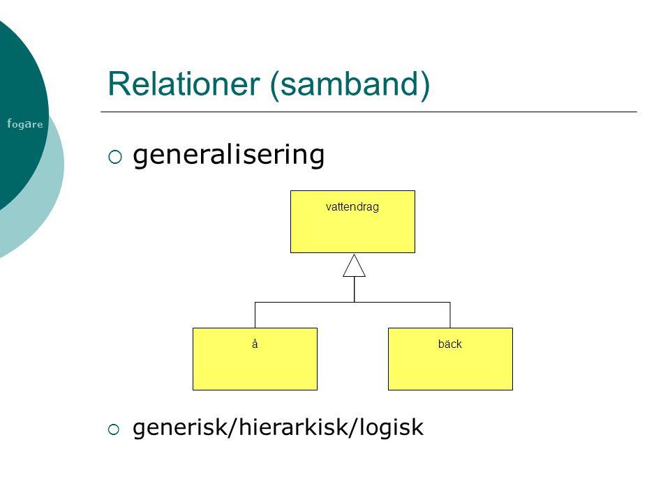 Relationer (samband) generalisering generisk/hierarkisk/logisk