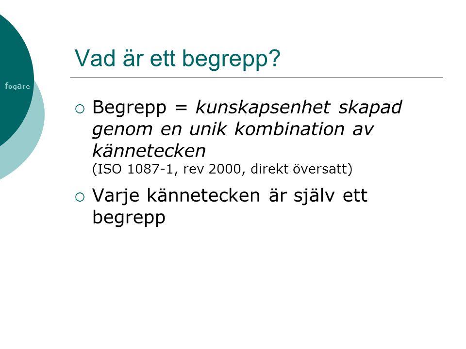 Vad är ett begrepp Begrepp = kunskapsenhet skapad genom en unik kombination av kännetecken (ISO 1087-1, rev 2000, direkt översatt)