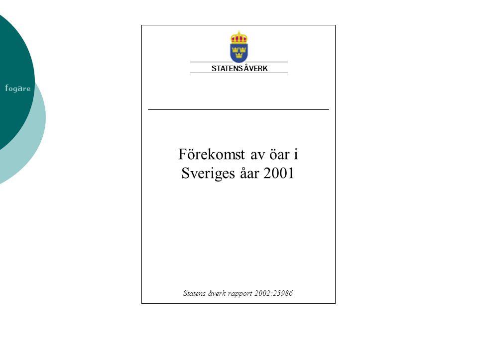 Förekomst av öar i Sveriges åar 2001