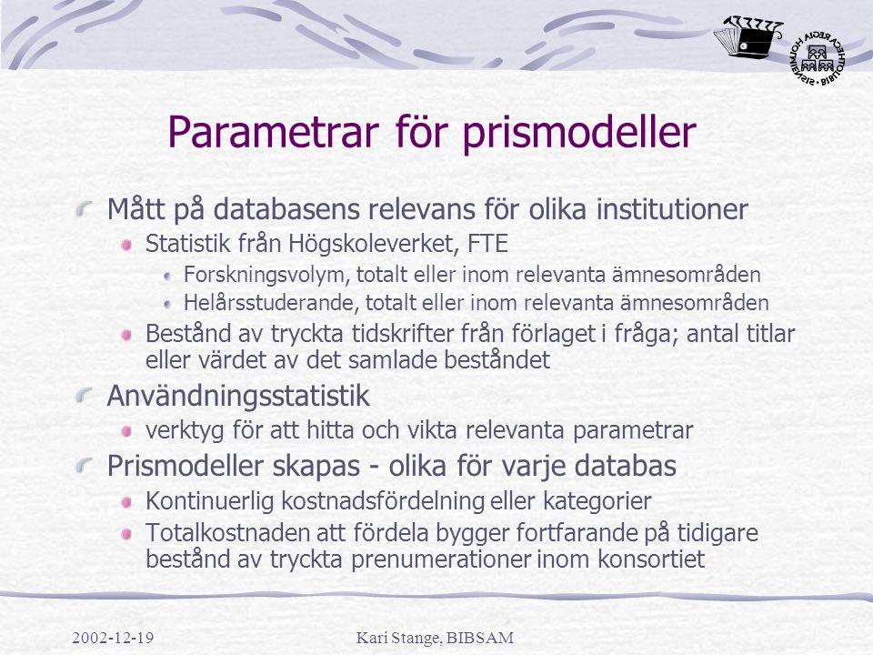 Parametrar för prismodeller