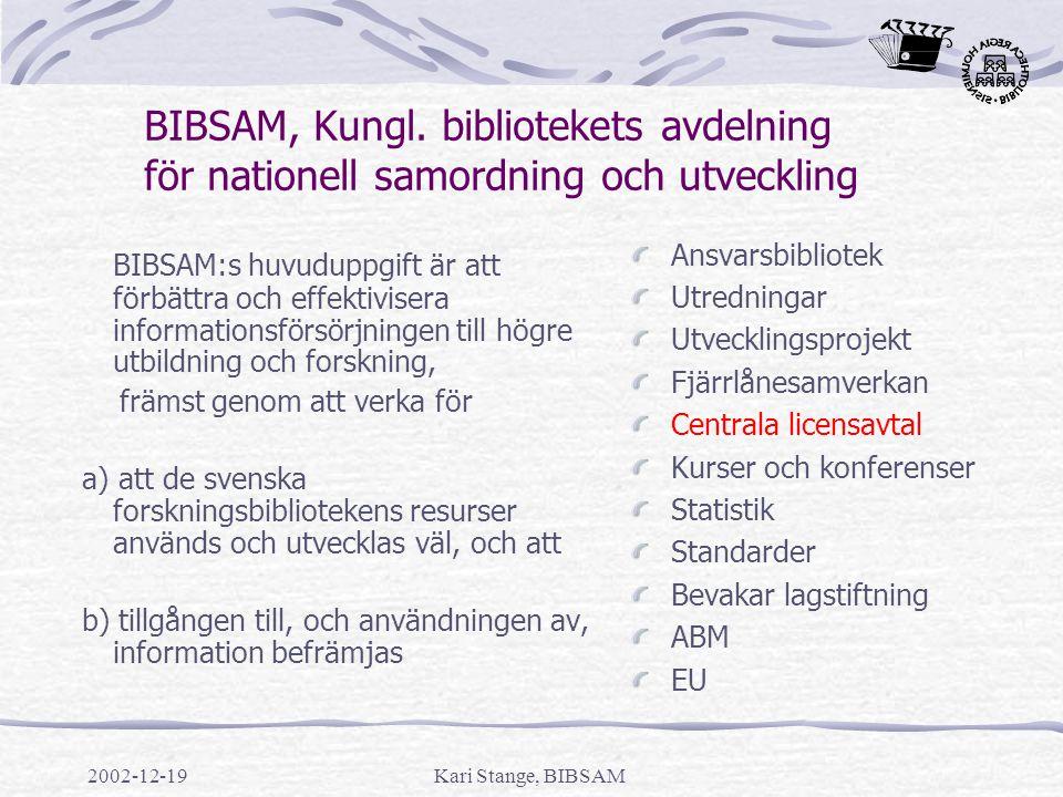 BIBSAM, Kungl. bibliotekets avdelning för nationell samordning och utveckling