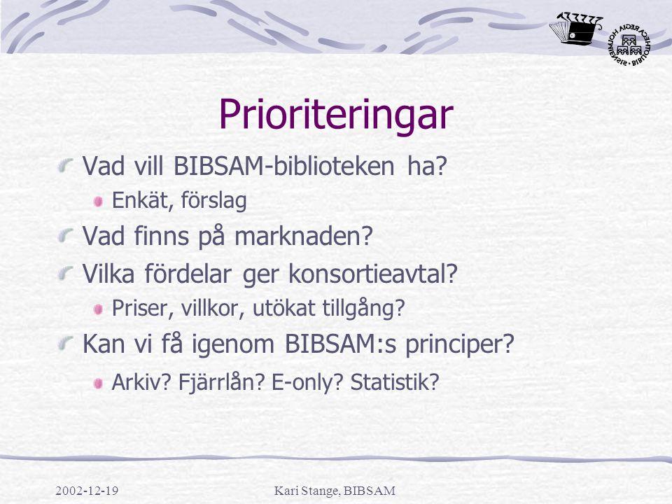 Prioriteringar Vad vill BIBSAM-biblioteken ha Vad finns på marknaden