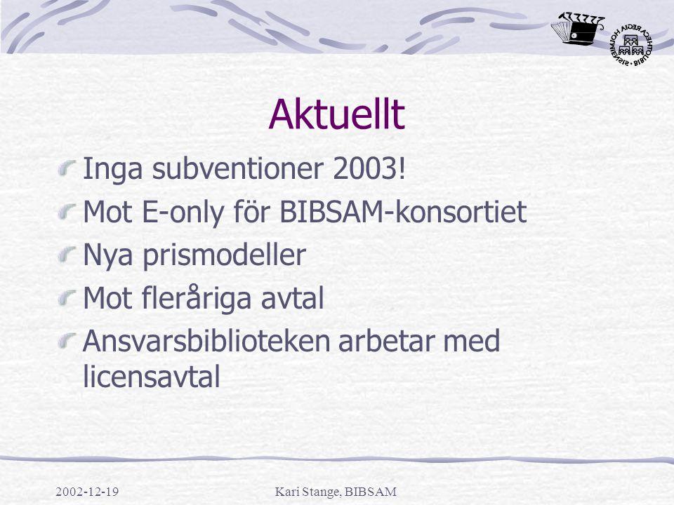 Aktuellt Inga subventioner 2003! Mot E-only för BIBSAM-konsortiet