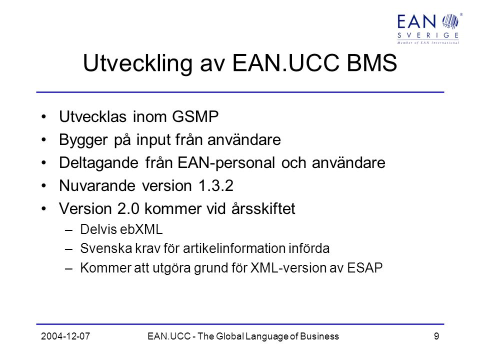 Utveckling av EAN.UCC BMS