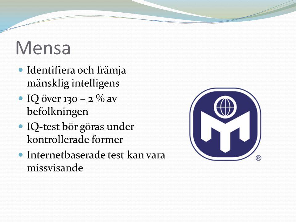 Mensa Identifiera och främja mänsklig intelligens