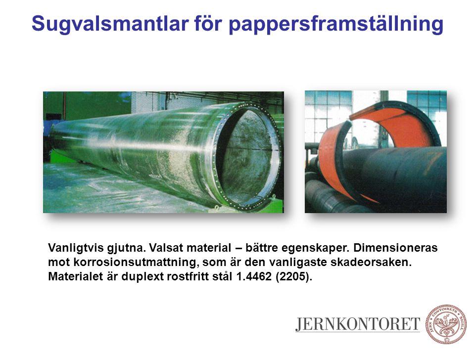 Sugvalsmantlar för pappersframställning