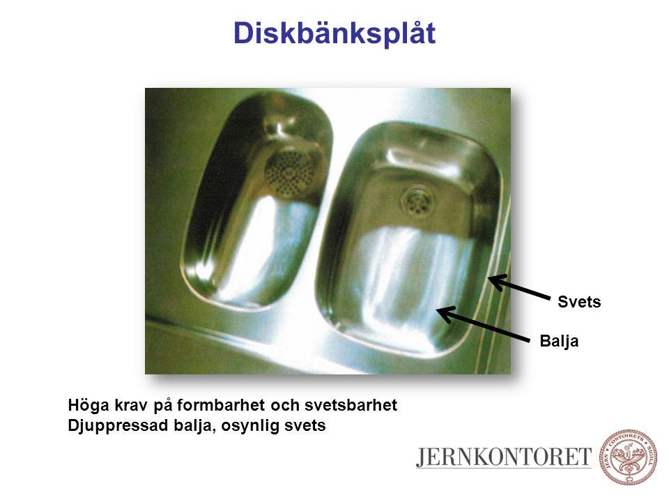 Diskbänksplåt Svets Balja Höga krav på formbarhet och svetsbarhet