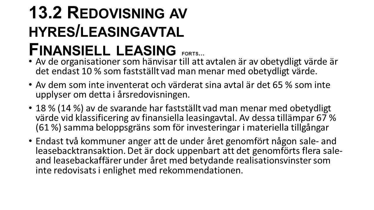 13.2 Redovisning av hyres/leasingavtal Finansiell leasing forts…