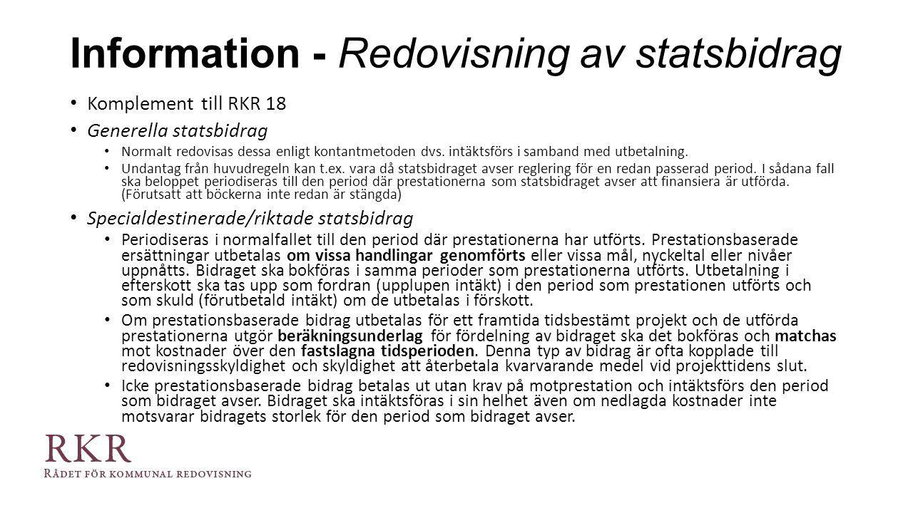 Information - Redovisning av statsbidrag