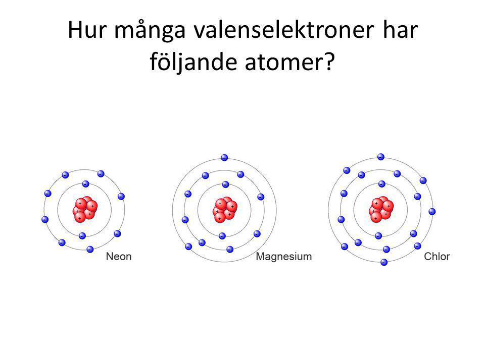 Hur många valenselektroner har följande atomer