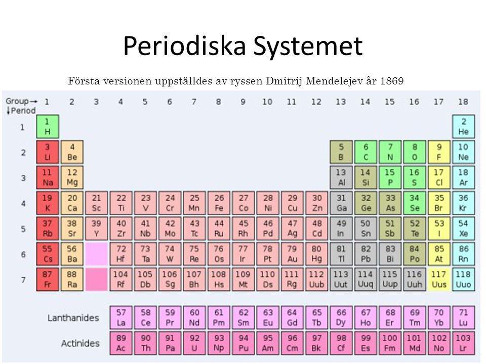 Periodiska Systemet Första versionen uppställdes av ryssen Dmitrij Mendelejev år 1869