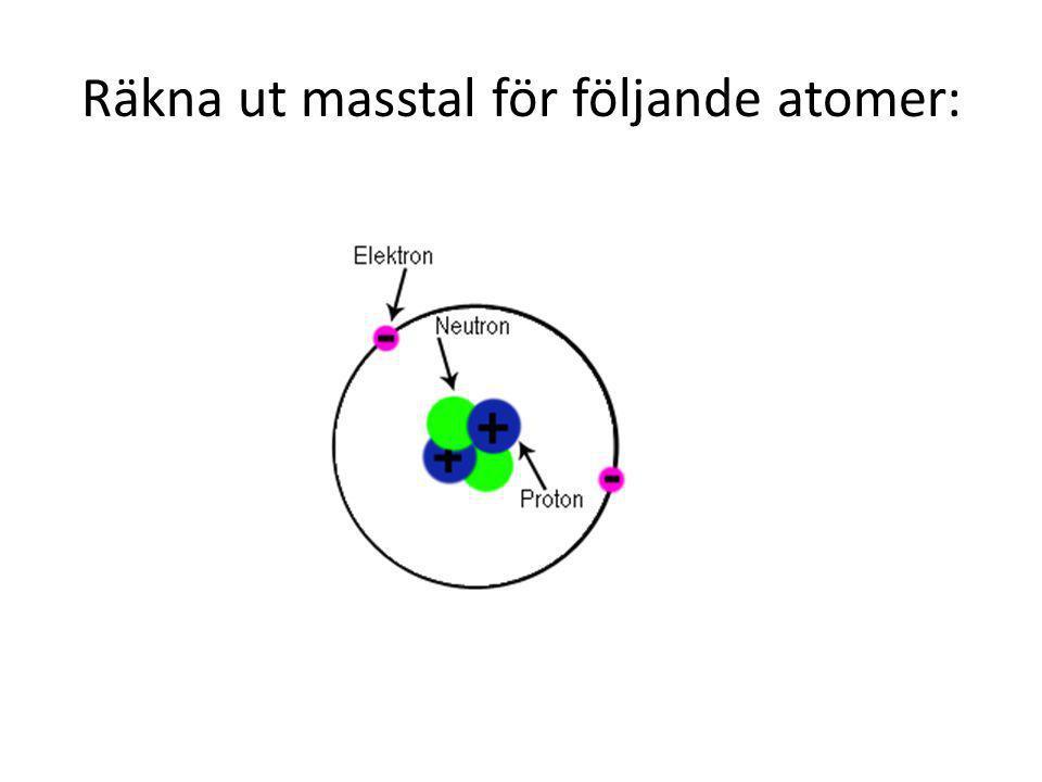 Räkna ut masstal för följande atomer: