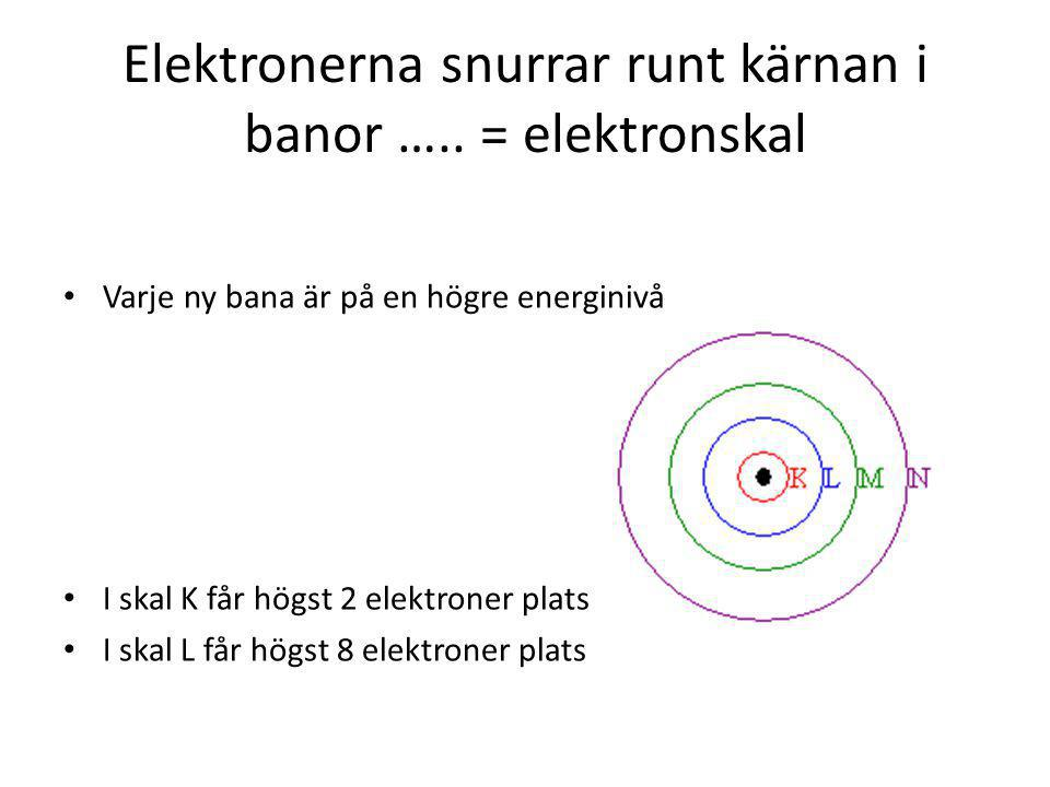 Elektronerna snurrar runt kärnan i banor ….. = elektronskal
