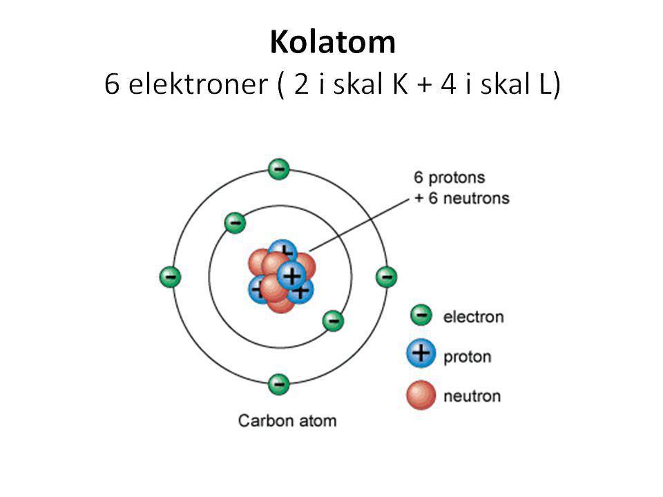 Kolatom 6 elektroner ( 2 i skal K + 4 i skal L)