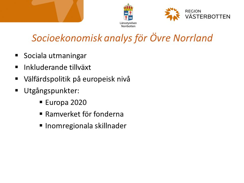 Socioekonomisk analys för Övre Norrland