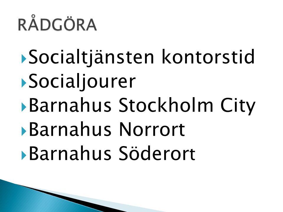 Socialtjänsten kontorstid Socialjourer Barnahus Stockholm City