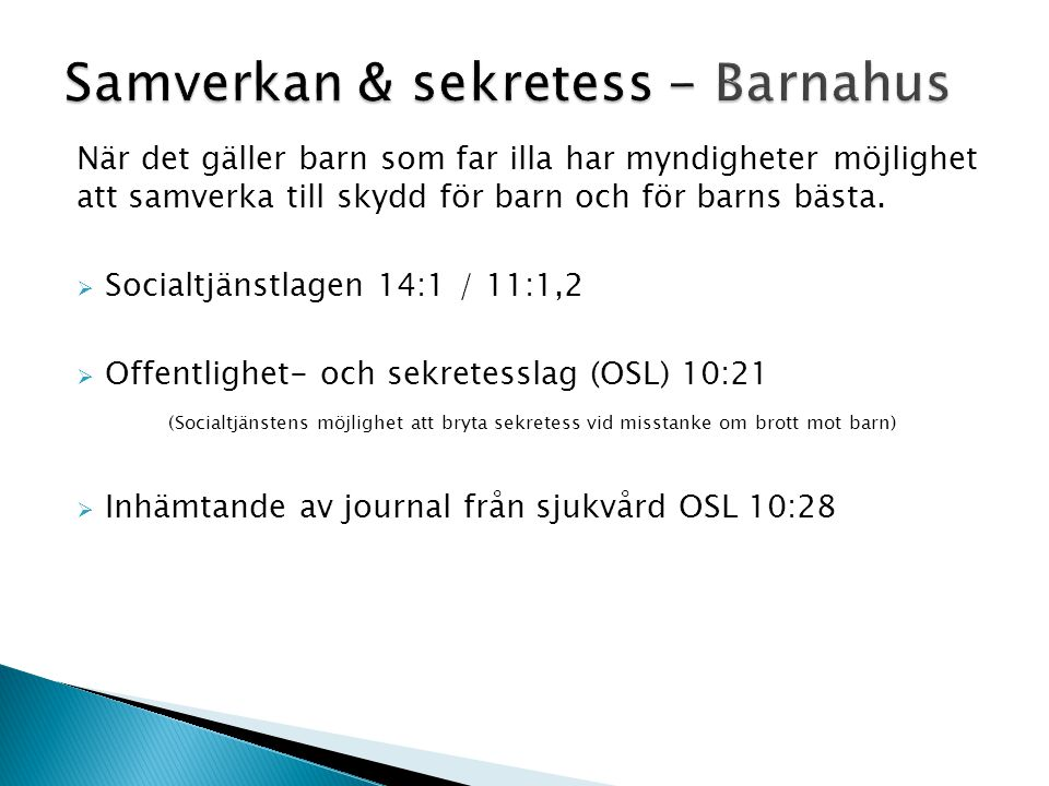 Samverkan & sekretess - Barnahus
