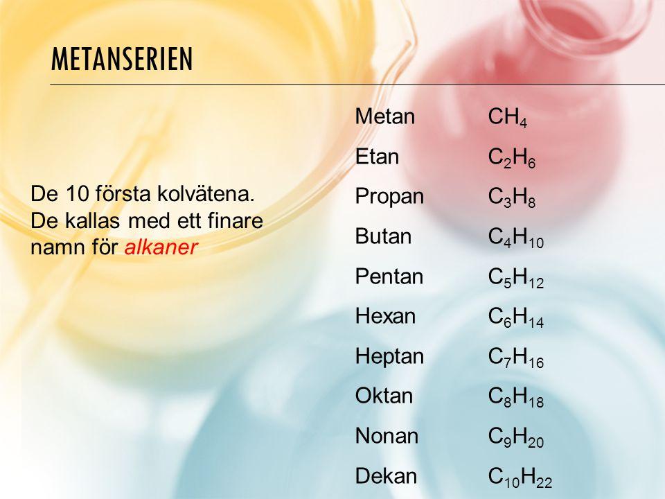 Metanserien Metan CH4 Etan C2H6 Propan C3H8 Butan C4H10 Pentan C5H12