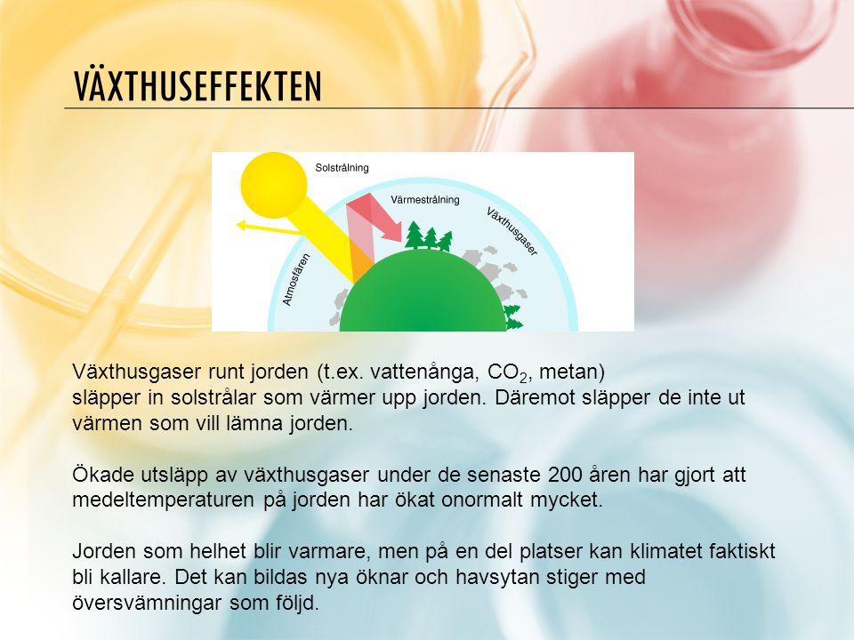 Växthuseffekten Växthusgaser runt jorden (t.ex. vattenånga, CO2, metan)