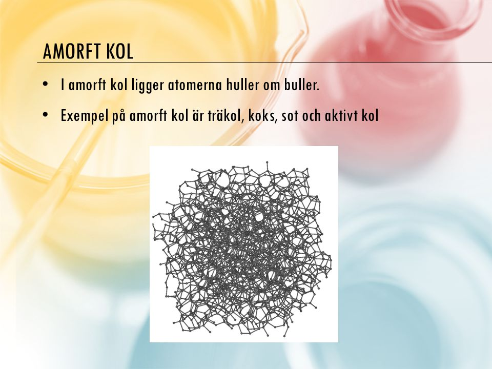 Amorft kol I amorft kol ligger atomerna huller om buller.